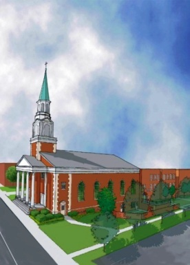 Rendering illustrating a new courtyard beside the Sanctuary